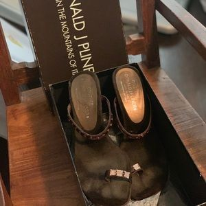 Brown suede high heeled sandals